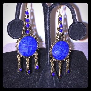 Jewelry - Blue And Bronze Fashion Earrings